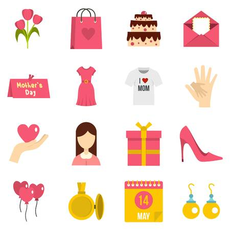 Mothers day icons set in flat style Illustration