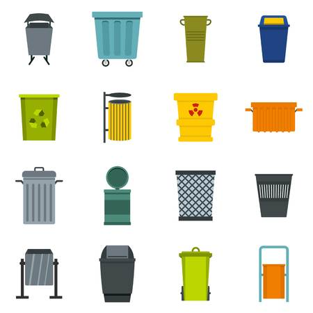 trashing: Garbage container icons set in flat style