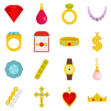 Jewelry items icons set in flat style Illustration