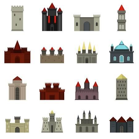 icônes tours et châteaux dans le style plat mis en