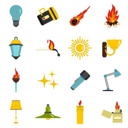 green lantern: Light source symbols icons set in flat style