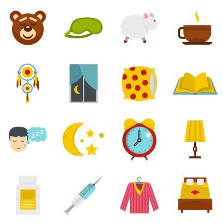 Sleep icons set in flat style