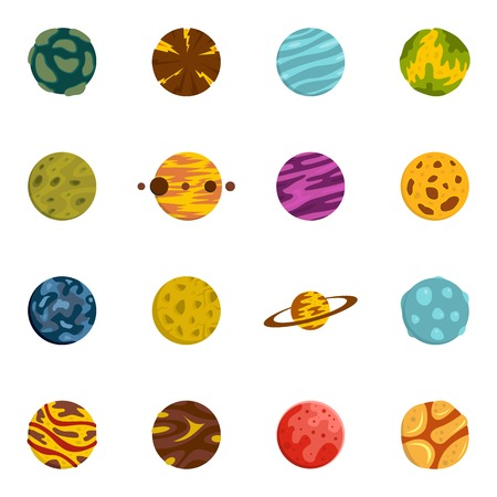Fantastic planets icons set in flat style