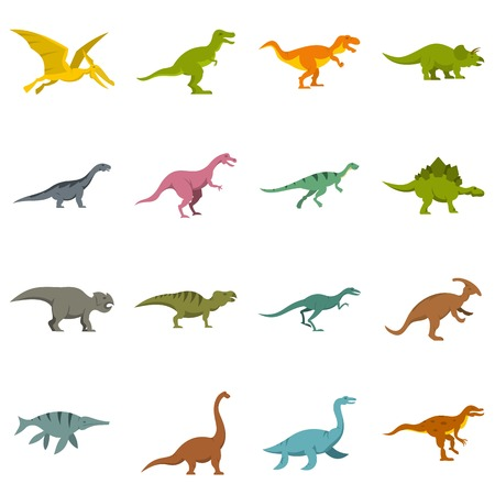 pterodactyl: Dinosaur icons set in flat style Illustration