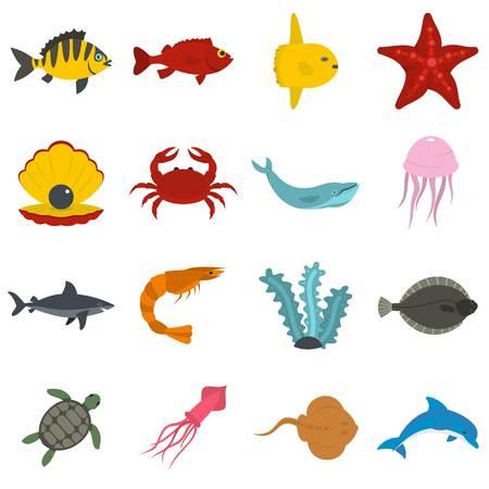 Sea animals icons set in flat style Illustration