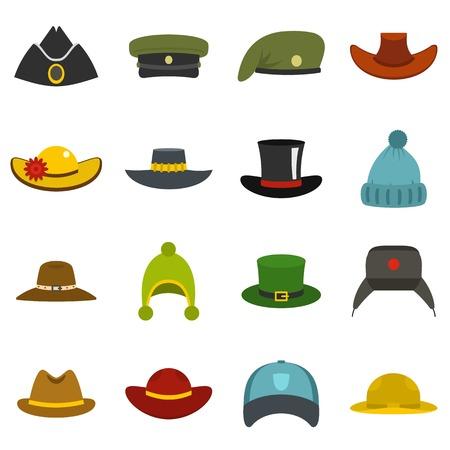 Nakrycia głowy kapeluszowe ikony ustawiać w mieszkanie stylu