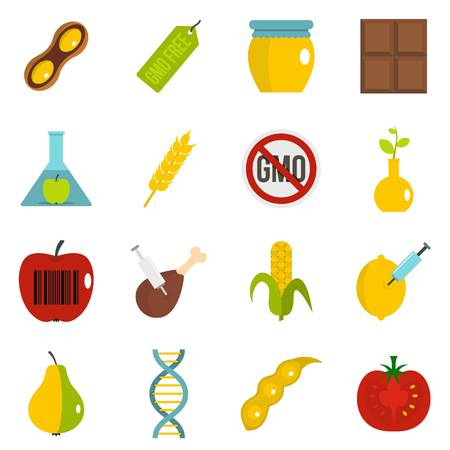 soy bean: GMO icons set in flat style