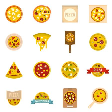 margherita: Pizza icons set in flat style Illustration