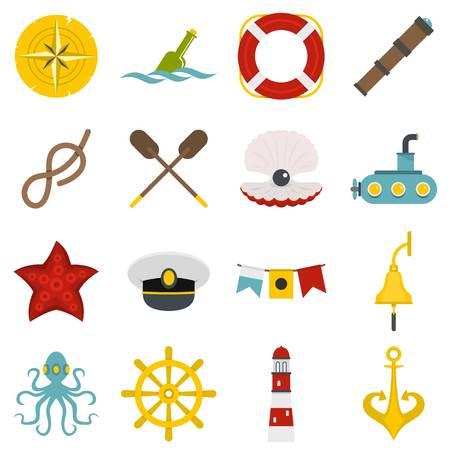 Nautische iconen in platte stijl Stock Illustratie