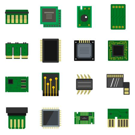 electronic circuit: Computer chips icons set in flat style