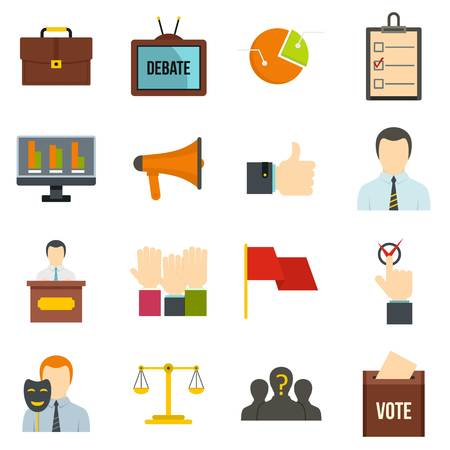 congress: Election voting icons set in flat style