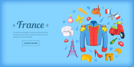 France travel horizontal banner, cartoon style