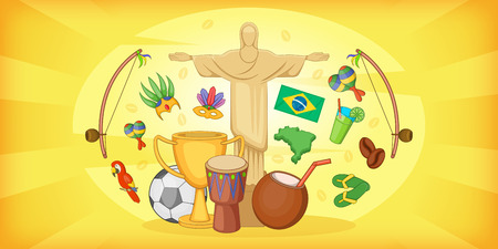 touristic: Brazil travel horizontal banner, cartoon style