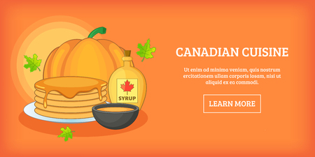 canadian flag: Canadian cuisine horizontal banner, cartoon style