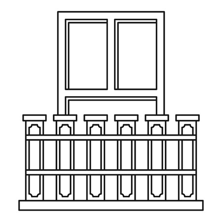 balustrade: Balcony with iron railing icon, outline style