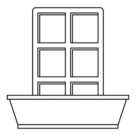 balustrade: Window and flowerbox icon, outline style