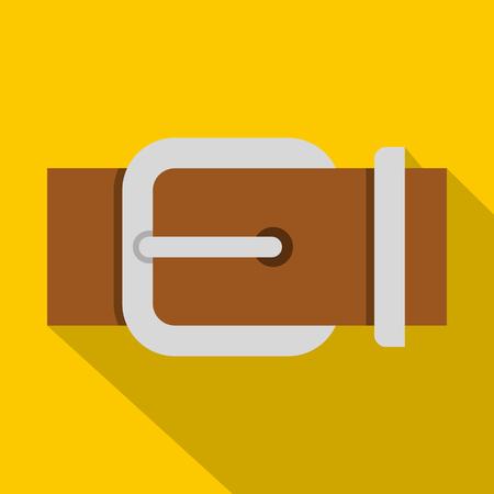 waistband: Brown elegant leather belt icon, flat style Illustration