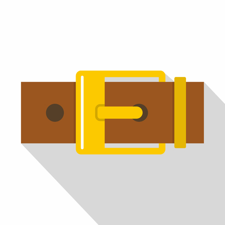 waistband: Belt with yellow square buckle icon, flat style Illustration
