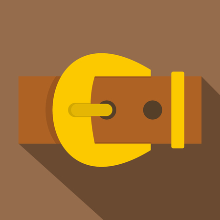 Gold buckle belt icon, flat style