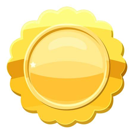 Gold circle metal badge icon, cartoon style