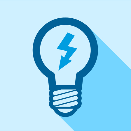 Blue electric bulb with lightning inside icon Illustration