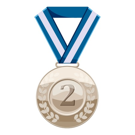 Silver medal with number two icon, cartoon style Illustration