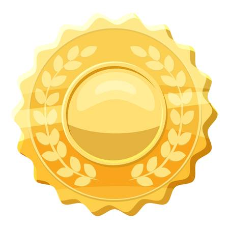 Gold medal with laurels icon, cartoon style Illustration
