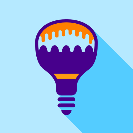 Colorful electric bulb icon, flat style