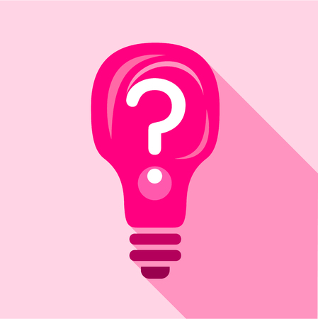 Pink light bulb with question mark inside icon