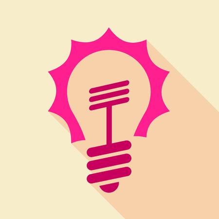Pink light bulb icon, flat style