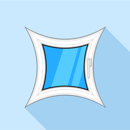 Curved square plastic window icon, flat style
