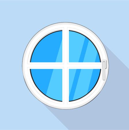 Round plastic window icon, flat style
