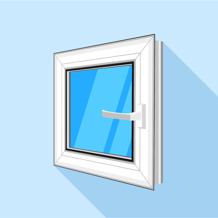 exterior architectural details: Square plastic window with blue sky glass icon Illustration