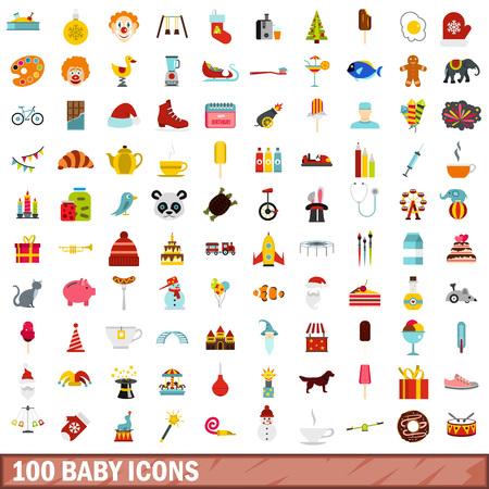 cute dog: 100 baby icons set, flat style