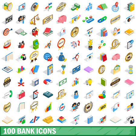 stock quotes: 100 bank icons set, isometric 3d style