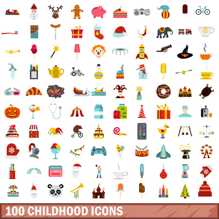 claus: 100 childhood icons set, flat style