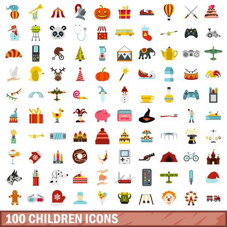 100 children icons set, flat style