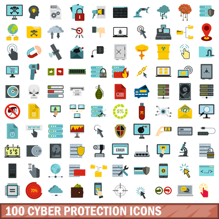100 cyber protection icons set, flat style