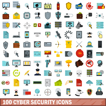 email bomb: 100 cyber security icons set, flat style Illustration