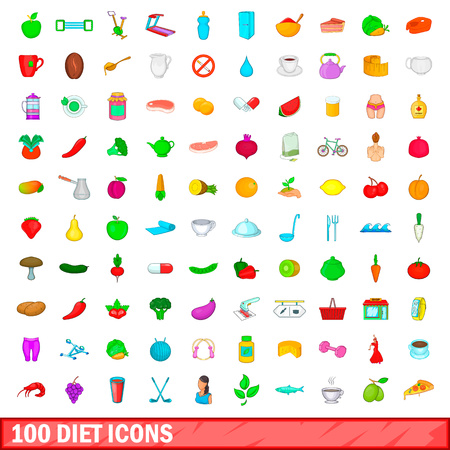 scale icon: 100 diet icons set, cartoon style
