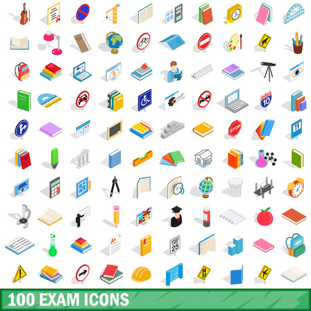 100 exam icons set, isometric 3d style Illustration