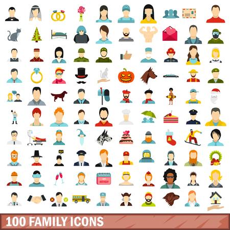 100 family icons set, flat style Ilustração