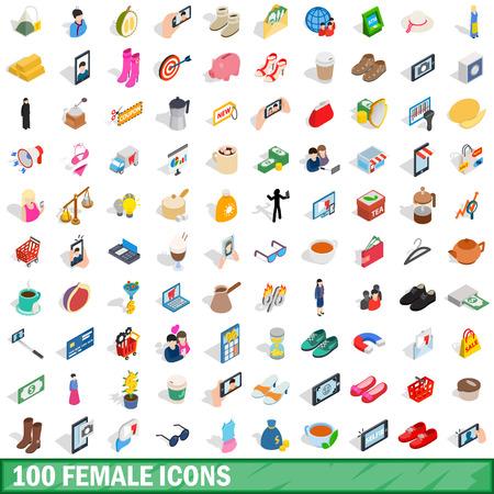 heterosexual: 100 female icons set, isometric 3d style