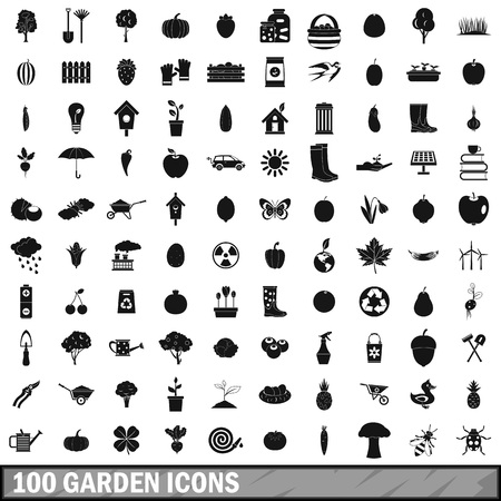 onions: 100 garden icons set, simple style