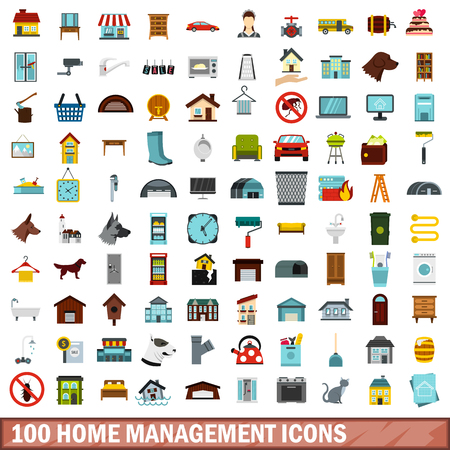 cleaning service: 100 home management icons set, flat style