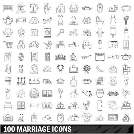 eco flowers basket: 100 marriage icons set, outline style