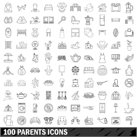 kitchen furniture: 100 parents icons set, outline style
