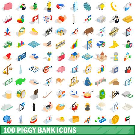 100 piggybank icons set, isometric 3d style