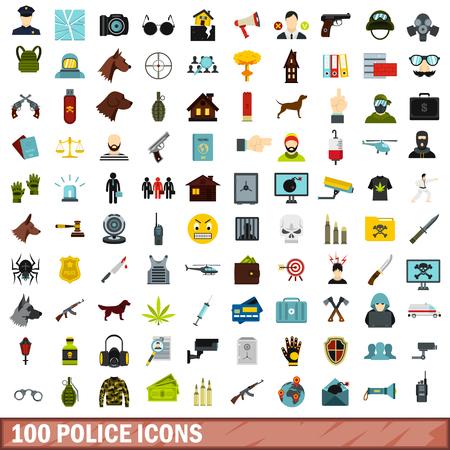 100 police icons set, flat style