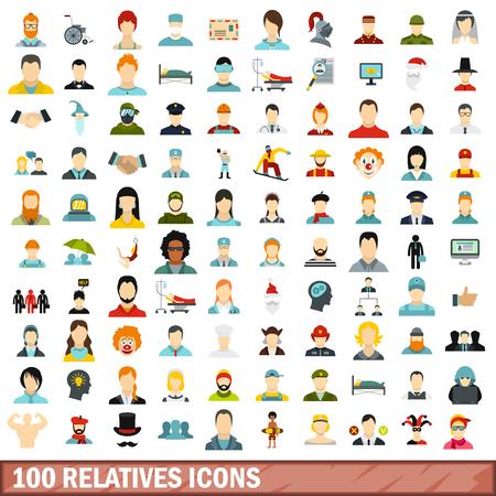 100 relatives icons set, flat style